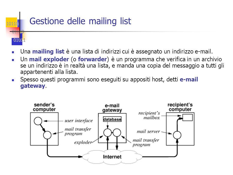 10110 01100 01100 01011 01011 Gestione delle mailing list Una mailing list è una lista di indirizzi cui è assegnato un indirizzo e-mail. Un mail explo