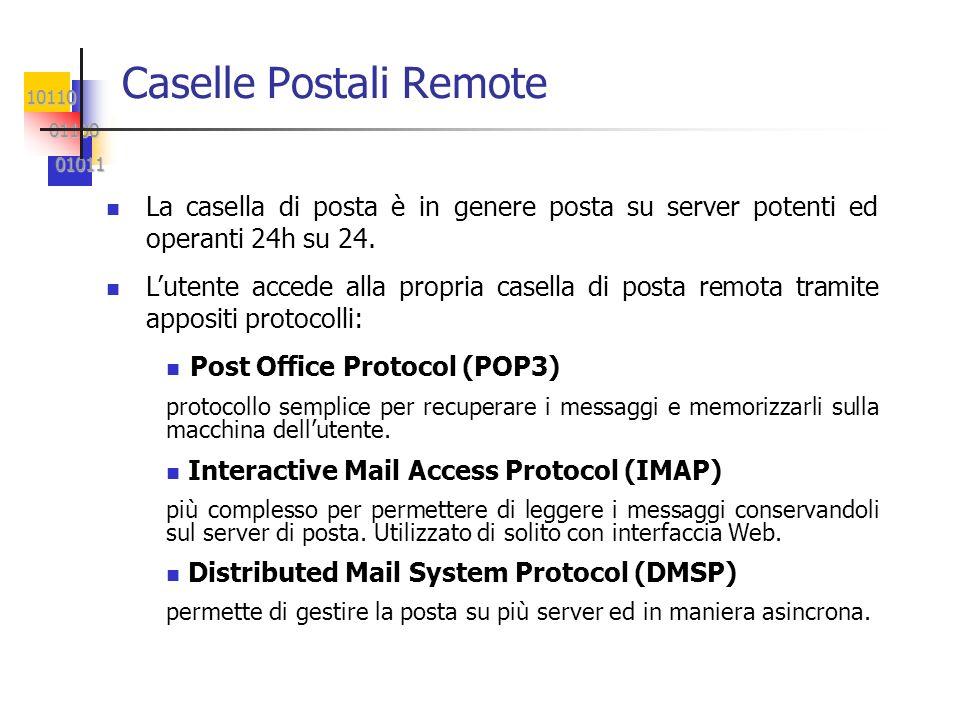 10110 01100 01100 01011 01011 Caselle Postali Remote La casella di posta è in genere posta su server potenti ed operanti 24h su 24. Lutente accede all