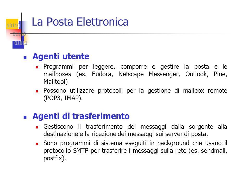 10110 01100 01100 01011 01011 La Posta Elettronica Agenti utente Programmi per leggere, comporre e gestire la posta e le mailboxes (es. Eudora, Netsca