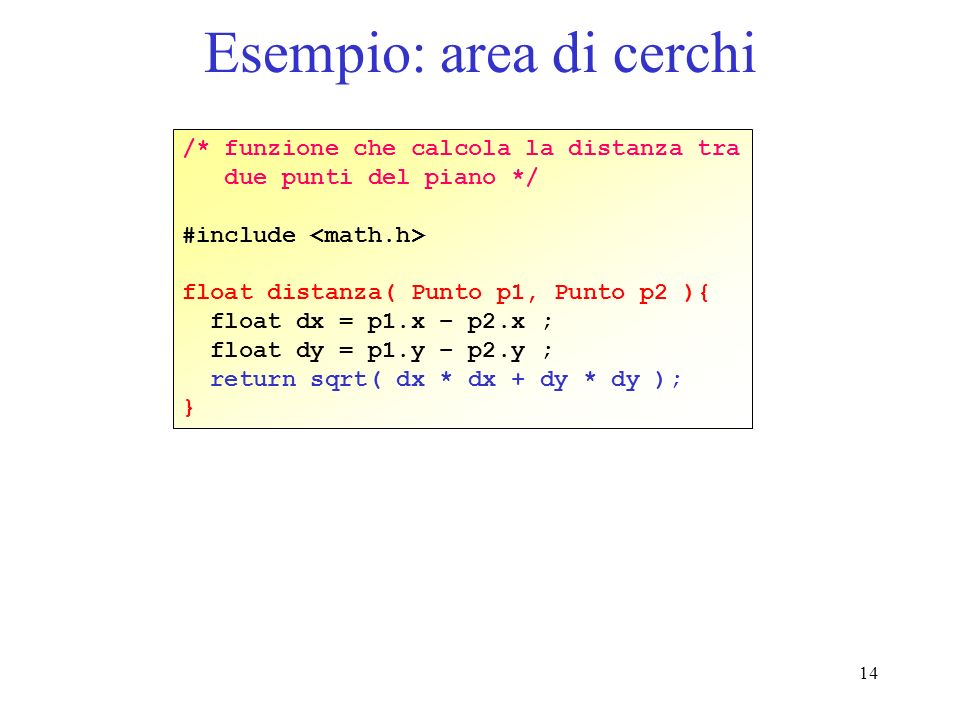 14 Esempio: area di cerchi /* funzione che calcola la distanza tra due punti del piano */ #include float distanza( Punto p1, Punto p2 ){ float dx = p1