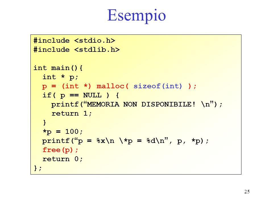 25 Esempio #include int main(){ int * p; p = (int *) malloc( sizeof(int) ); if( p == NULL ) { printf( MEMORIA NON DISPONIBILE! \n ); return 1; } *p =