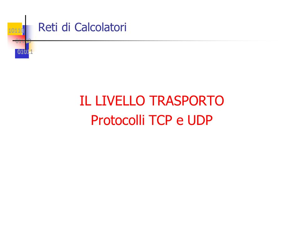 10110 01100 01100 01011 01011 UDP: Trasporto senza Connessione Ogni datagramma UDP è incapsulato in un pacchetto IP.