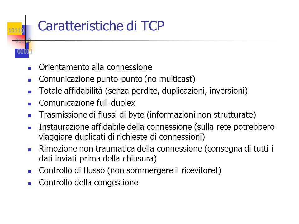10110 01100 01100 01011 01011 Caratteristiche di TCP Orientamento alla connessione Comunicazione punto-punto (no multicast) Totale affidabilità (senza