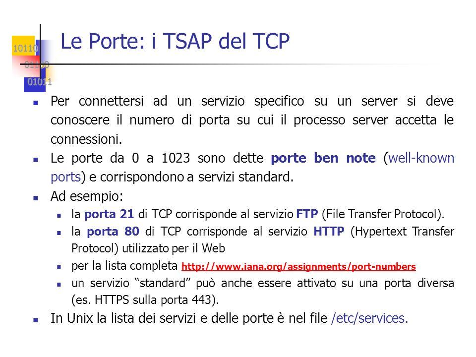 10110 01100 01100 01011 01011 Le Porte: i TSAP del TCP Per connettersi ad un servizio specifico su un server si deve conoscere il numero di porta su c