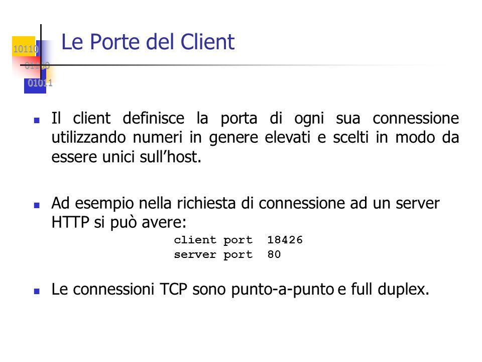 10110 01100 01100 01011 01011 Le Porte del Client Il client definisce la porta di ogni sua connessione utilizzando numeri in genere elevati e scelti i