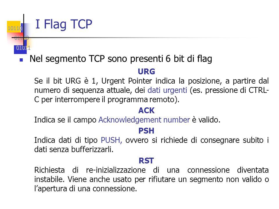 10110 01100 01100 01011 01011 I Flag TCP Nel segmento TCP sono presenti 6 bit di flag URG Se il bit URG è 1, Urgent Pointer indica la posizione, a par