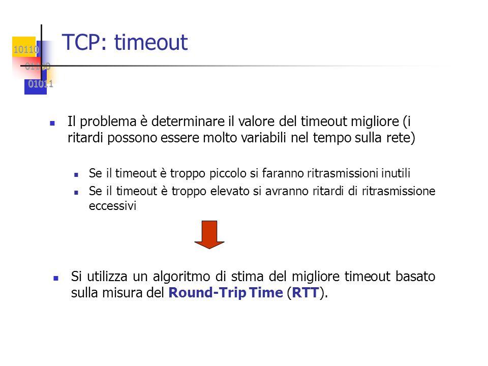 10110 01100 01100 01011 01011 TCP: timeout Il problema è determinare il valore del timeout migliore (i ritardi possono essere molto variabili nel temp