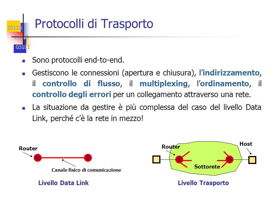 10110 01100 01100 01011 01011 Protocolli di Trasporto Sono protocolli end-to-end. Gestiscono le connessioni (apertura e chiusura), lindirizzamento, il