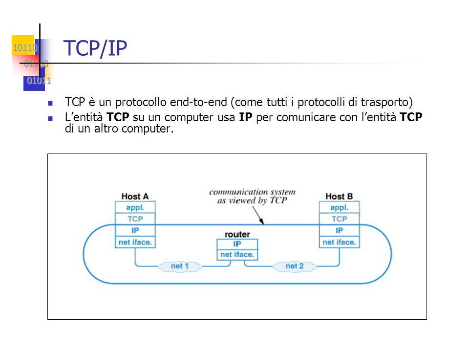 10110 01100 01100 01011 01011 Caratteristiche di TCP Orientamento alla connessione Comunicazione punto-punto (no multicast) Totale affidabilità (senza perdite, duplicazioni, inversioni) Comunicazione full-duplex Trasmissione di flussi di byte (informazioni non strutturate) Instaurazione affidabile della connessione (sulla rete potrebbero viaggiare duplicati di richieste di connessioni) Rimozione non traumatica della connessione (consegna di tutti i dati inviati prima della chiusura) Controllo di flusso (non sommergere il ricevitore!) Controllo della congestione