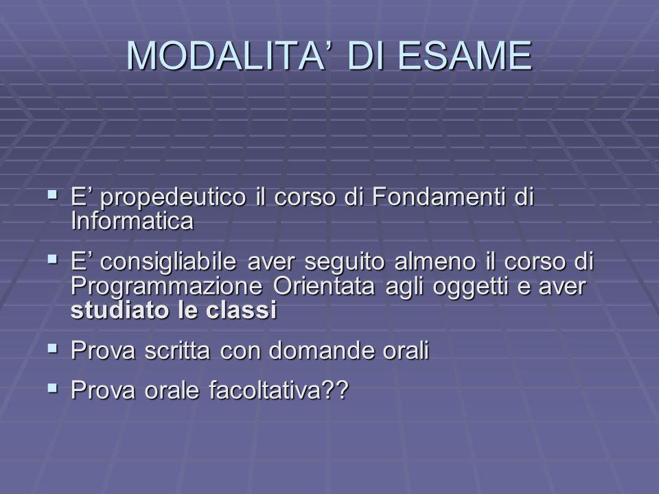 MODALITA DI ESAME E propedeutico il corso di Fondamenti di Informatica E propedeutico il corso di Fondamenti di Informatica E consigliabile aver segui