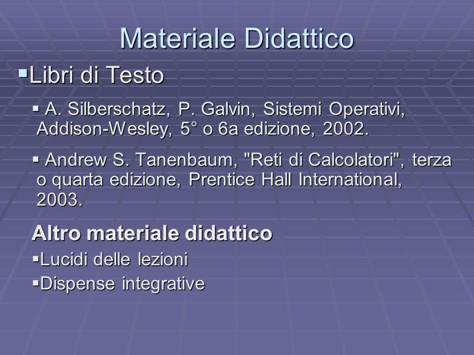 Materiale Didattico Libri di Testo Libri di Testo A. Silberschatz, P. Galvin, Sistemi Operativi, Addison-Wesley, 5° o 6a edizione, 2002. A. Silberscha