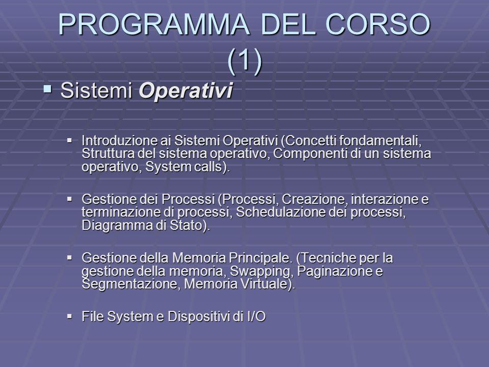 PROGRAMMA DEL CORSO (1) Sistemi Operativi Sistemi Operativi Introduzione ai Sistemi Operativi (Concetti fondamentali, Struttura del sistema operativo,