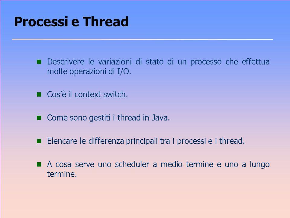 Processi e Thread n Descrivere le variazioni di stato di un processo che effettua molte operazioni di I/O.