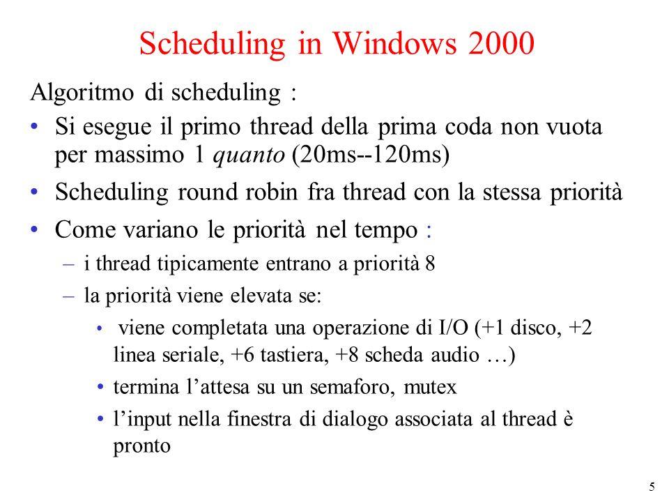 5 Scheduling in Windows 2000 Algoritmo di scheduling : Si esegue il primo thread della prima coda non vuota per massimo 1 quanto (20ms--120ms) Scheduling round robin fra thread con la stessa priorità Come variano le priorità nel tempo : –i thread tipicamente entrano a priorità 8 –la priorità viene elevata se: viene completata una operazione di I/O (+1 disco, +2 linea seriale, +6 tastiera, +8 scheda audio …) termina lattesa su un semaforo, mutex linput nella finestra di dialogo associata al thread è pronto