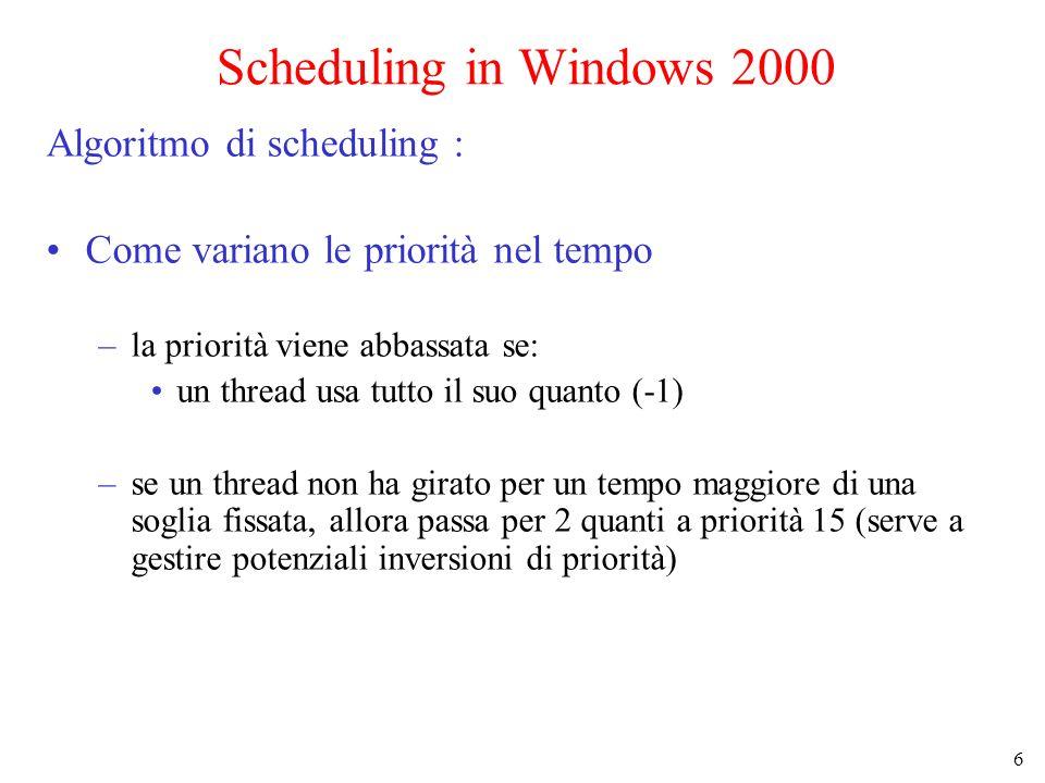 6 Scheduling in Windows 2000 Algoritmo di scheduling : Come variano le priorità nel tempo –la priorità viene abbassata se: un thread usa tutto il suo quanto (-1) –se un thread non ha girato per un tempo maggiore di una soglia fissata, allora passa per 2 quanti a priorità 15 (serve a gestire potenziali inversioni di priorità)