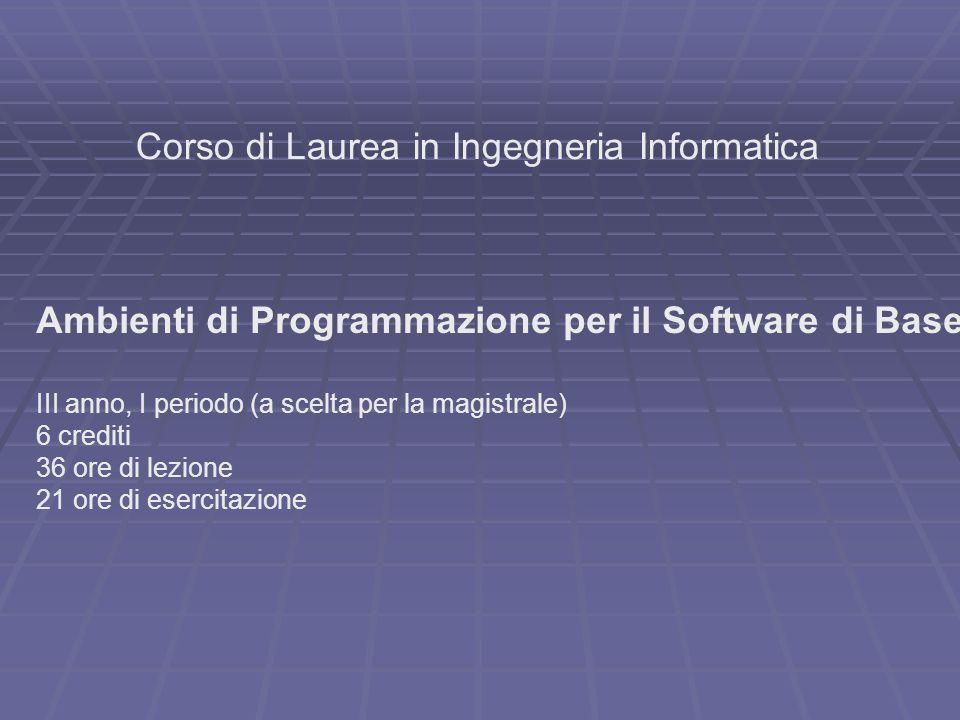 Corso di Laurea in Ingegneria Informatica Ambienti di Programmazione per il Software di Base III anno, I periodo (a scelta per la magistrale) 6 credit