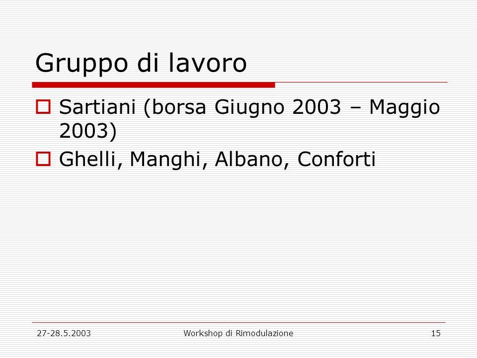 27-28.5.2003Workshop di Rimodulazione15 Gruppo di lavoro Sartiani (borsa Giugno 2003 – Maggio 2003) Ghelli, Manghi, Albano, Conforti