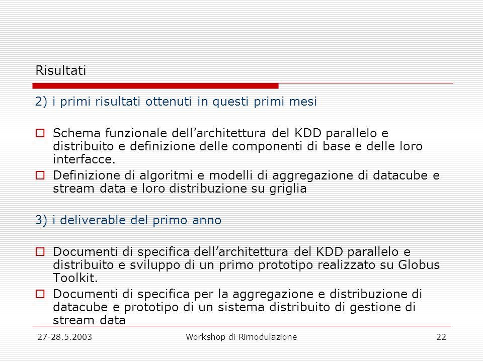 27-28.5.2003Workshop di Rimodulazione22 Risultati 2) i primi risultati ottenuti in questi primi mesi Schema funzionale dellarchitettura del KDD parallelo e distribuito e definizione delle componenti di base e delle loro interfacce.