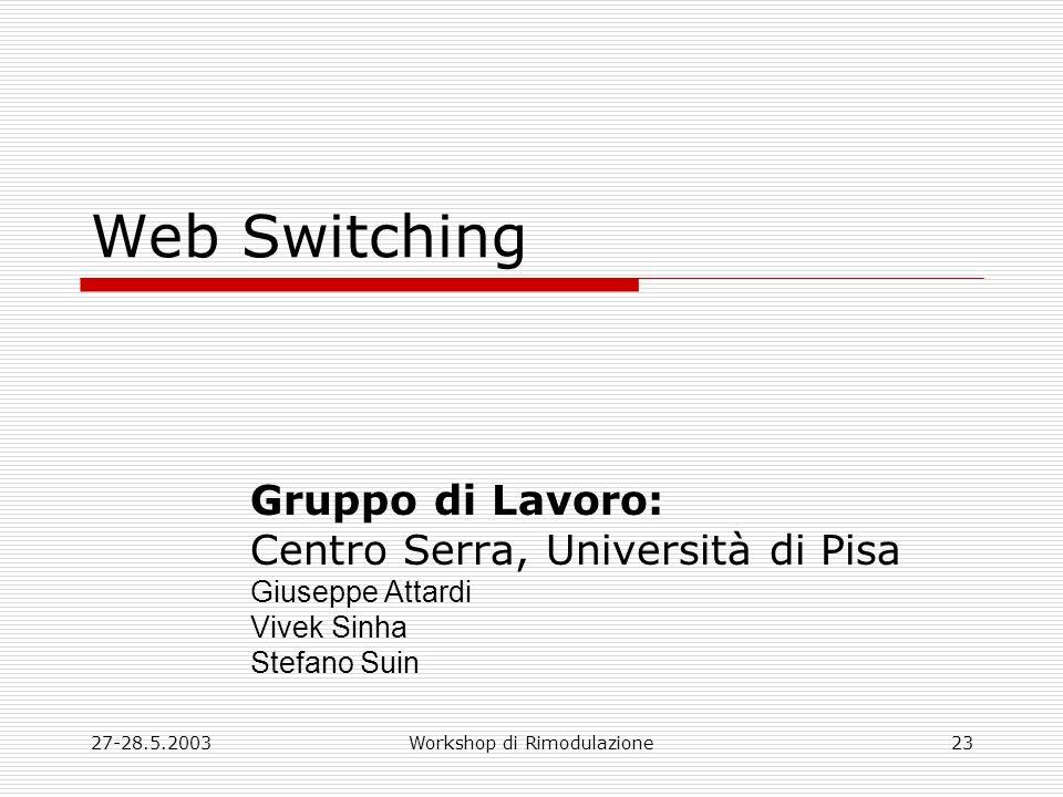 27-28.5.2003Workshop di Rimodulazione23 Web Switching Gruppo di Lavoro: Centro Serra, Università di Pisa Giuseppe Attardi Vivek Sinha Stefano Suin