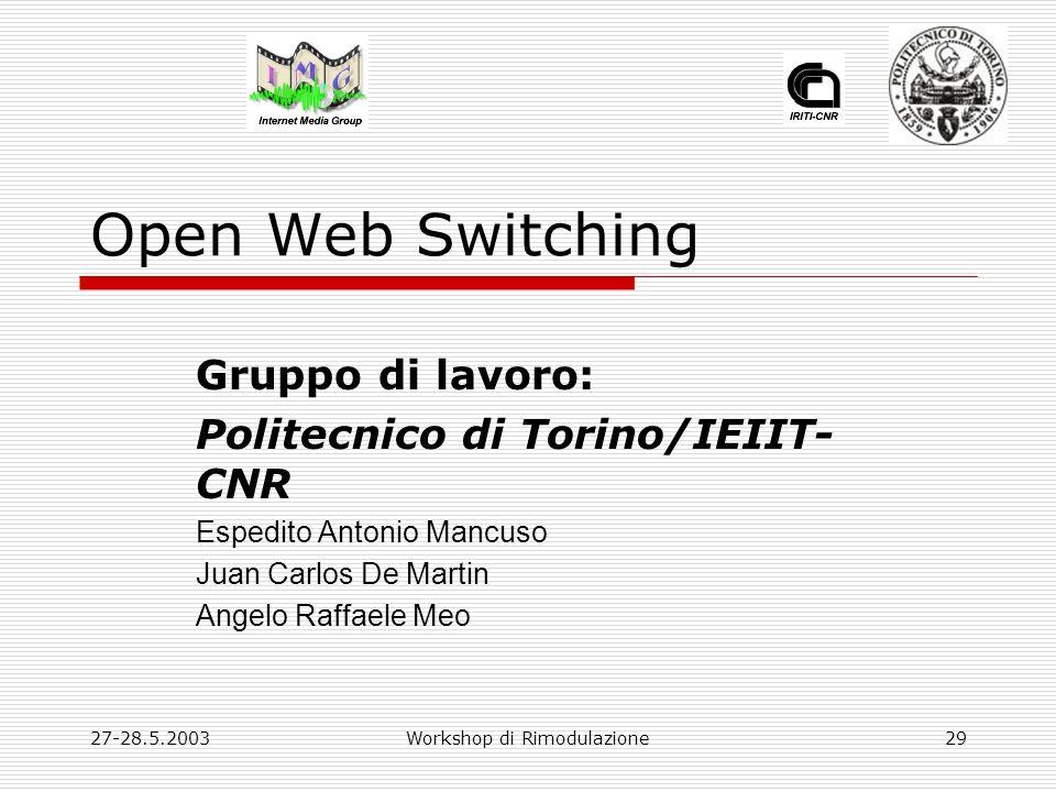 27-28.5.2003Workshop di Rimodulazione29 Open Web Switching Gruppo di lavoro: Politecnico di Torino/IEIIT- CNR Espedito Antonio Mancuso Juan Carlos De Martin Angelo Raffaele Meo
