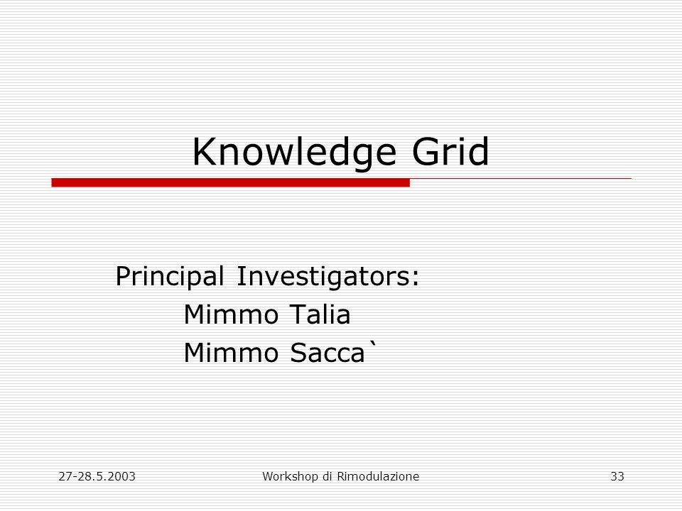 27-28.5.2003Workshop di Rimodulazione33 Knowledge Grid Principal Investigators: Mimmo Talia Mimmo Sacca`