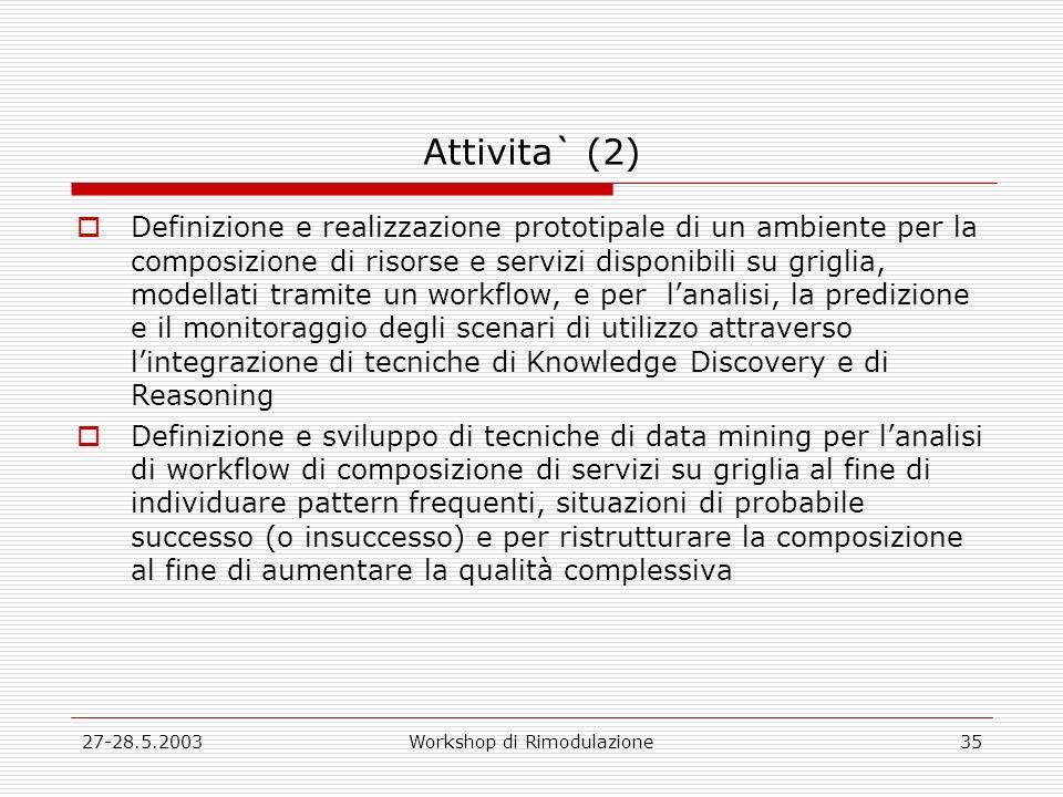27-28.5.2003Workshop di Rimodulazione35 Attivita` (2) Definizione e realizzazione prototipale di un ambiente per la composizione di risorse e servizi disponibili su griglia, modellati tramite un workflow, e per lanalisi, la predizione e il monitoraggio degli scenari di utilizzo attraverso lintegrazione di tecniche di Knowledge Discovery e di Reasoning Definizione e sviluppo di tecniche di data mining per lanalisi di workflow di composizione di servizi su griglia al fine di individuare pattern frequenti, situazioni di probabile successo (o insuccesso) e per ristrutturare la composizione al fine di aumentare la qualità complessiva