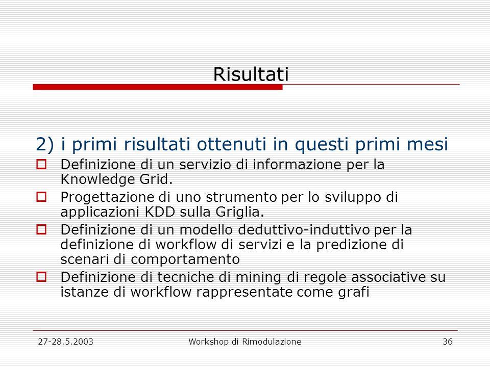 27-28.5.2003Workshop di Rimodulazione36 Risultati 2) i primi risultati ottenuti in questi primi mesi Definizione di un servizio di informazione per la Knowledge Grid.