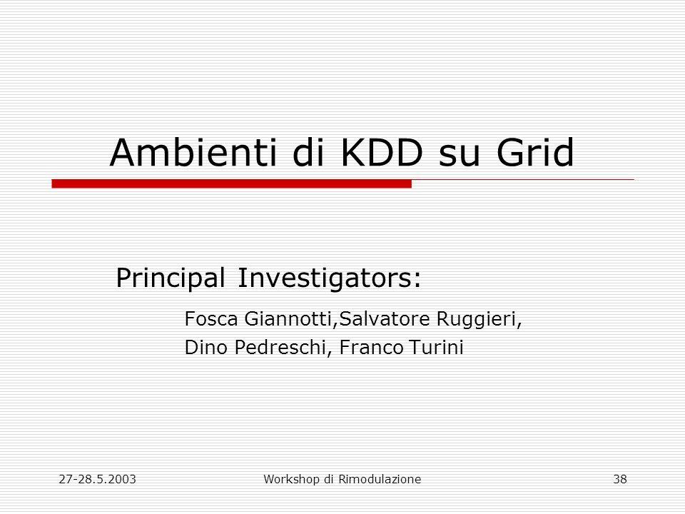 27-28.5.2003Workshop di Rimodulazione38 Ambienti di KDD su Grid Principal Investigators: Fosca Giannotti,Salvatore Ruggieri, Dino Pedreschi, Franco Turini