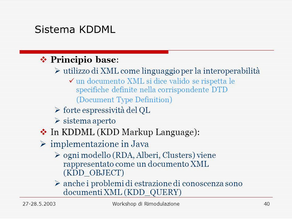 27-28.5.2003Workshop di Rimodulazione40 Sistema KDDML Principio base: utilizzo di XML come linguaggio per la interoperabilità un documento XML si dice valido se rispetta le specifiche definite nella corrispondente DTD (Document Type Definition) forte espressività del QL sistema aperto KDDML In KDDML (KDD Markup Language): implementazione in Java ogni modello (RDA, Alberi, Clusters) viene rappresentato come un documento XML (KDD_OBJECT) anche i problemi di estrazione di conoscenza sono documenti XML (KDD_QUERY)
