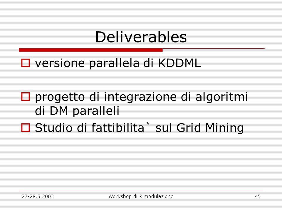 27-28.5.2003Workshop di Rimodulazione45 Deliverables versione parallela di KDDML progetto di integrazione di algoritmi di DM paralleli Studio di fattibilita` sul Grid Mining
