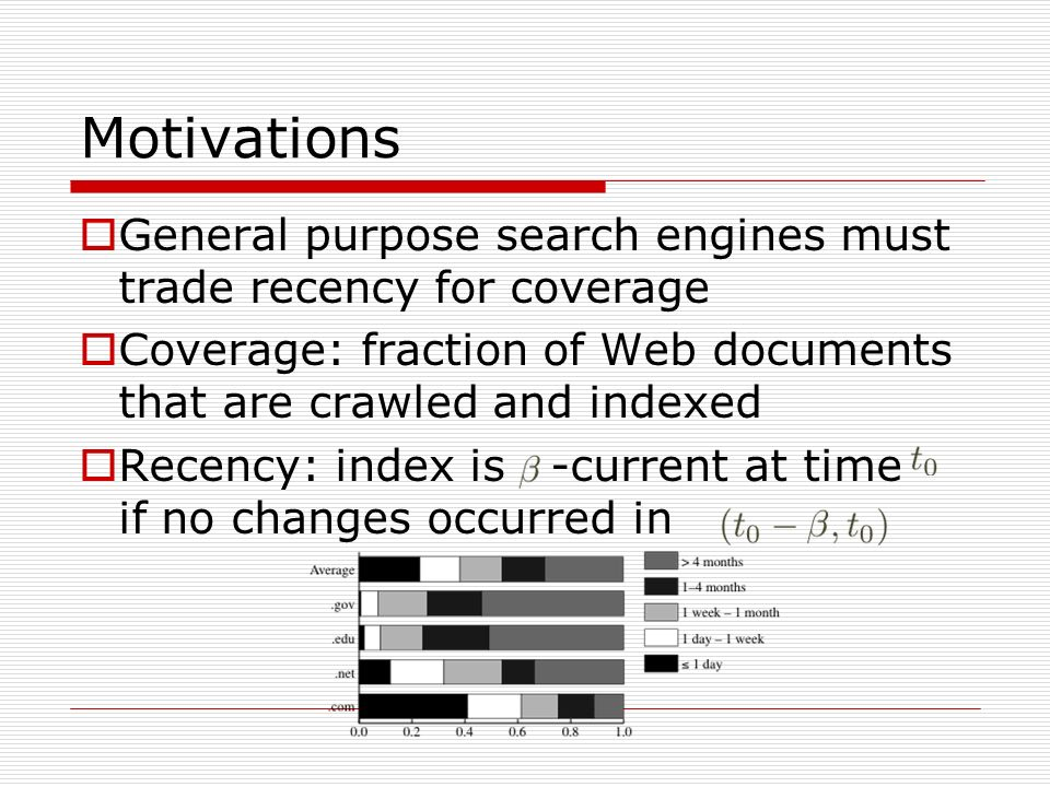 General purpose search engines must trade recency for coverage Coverage: fraction of Web documents that are crawled and indexed Recency: index is -current at time if no changes occurred in Motivations