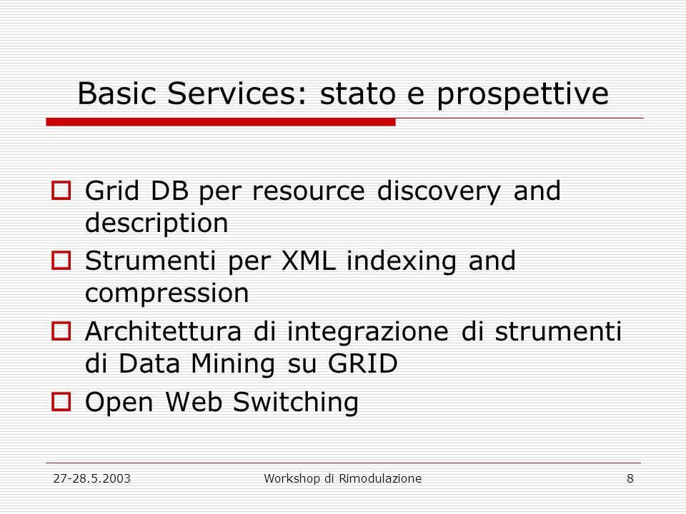 27-28.5.2003Workshop di Rimodulazione8 Basic Services: stato e prospettive Grid DB per resource discovery and description Strumenti per XML indexing a