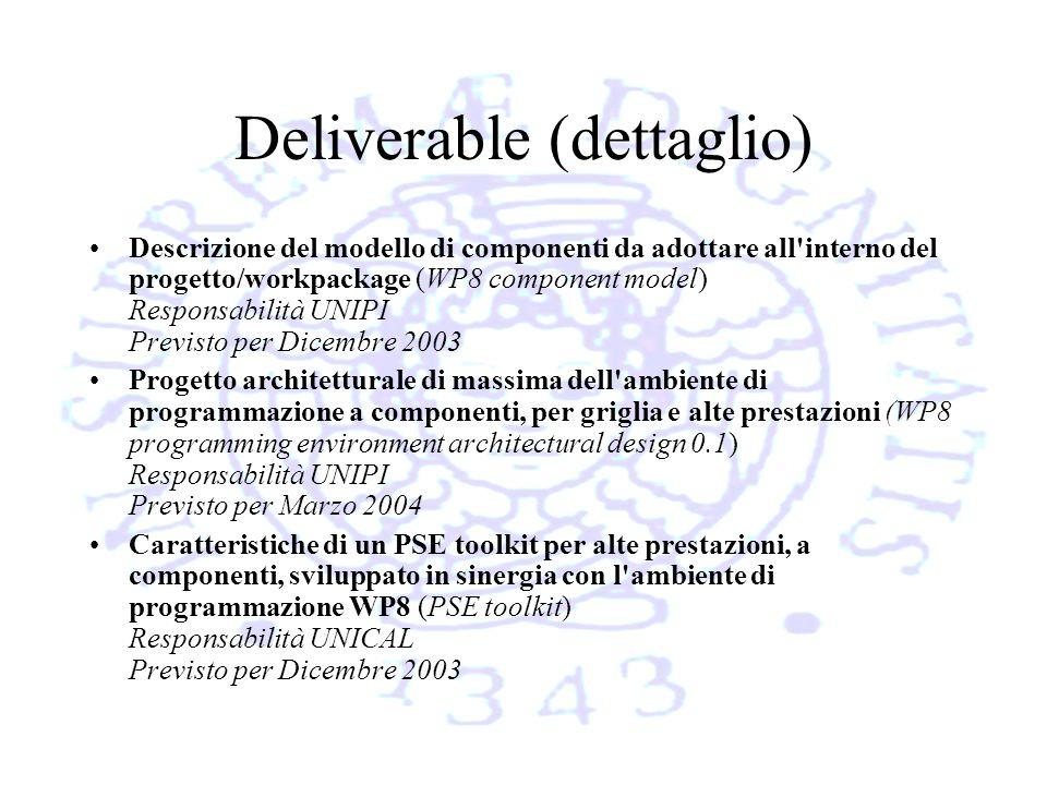 Deliverable (dettaglio) Descrizione del modello di componenti da adottare all interno del progetto/workpackage (WP8 component model) Responsabilità UNIPI Previsto per Dicembre 2003 Progetto architetturale di massima dell ambiente di programmazione a componenti, per griglia e alte prestazioni (WP8 programming environment architectural design 0.1) Responsabilità UNIPI Previsto per Marzo 2004 Caratteristiche di un PSE toolkit per alte prestazioni, a componenti, sviluppato in sinergia con l ambiente di programmazione WP8 (PSE toolkit) Responsabilità UNICAL Previsto per Dicembre 2003