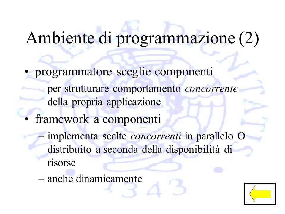 Ambiente di programmazione (2) programmatore sceglie componenti –per strutturare comportamento concorrente della propria applicazione framework a componenti –implementa scelte concorrenti in parallelo O distribuito a seconda della disponibilità di risorse –anche dinamicamente