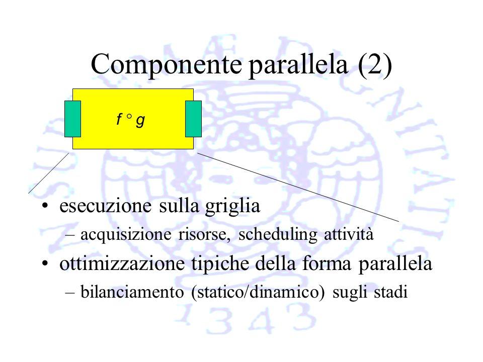 Componente parallela (2) esecuzione sulla griglia –acquisizione risorse, scheduling attività ottimizzazione tipiche della forma parallela –bilanciamento (statico/dinamico) sugli stadi f ° g