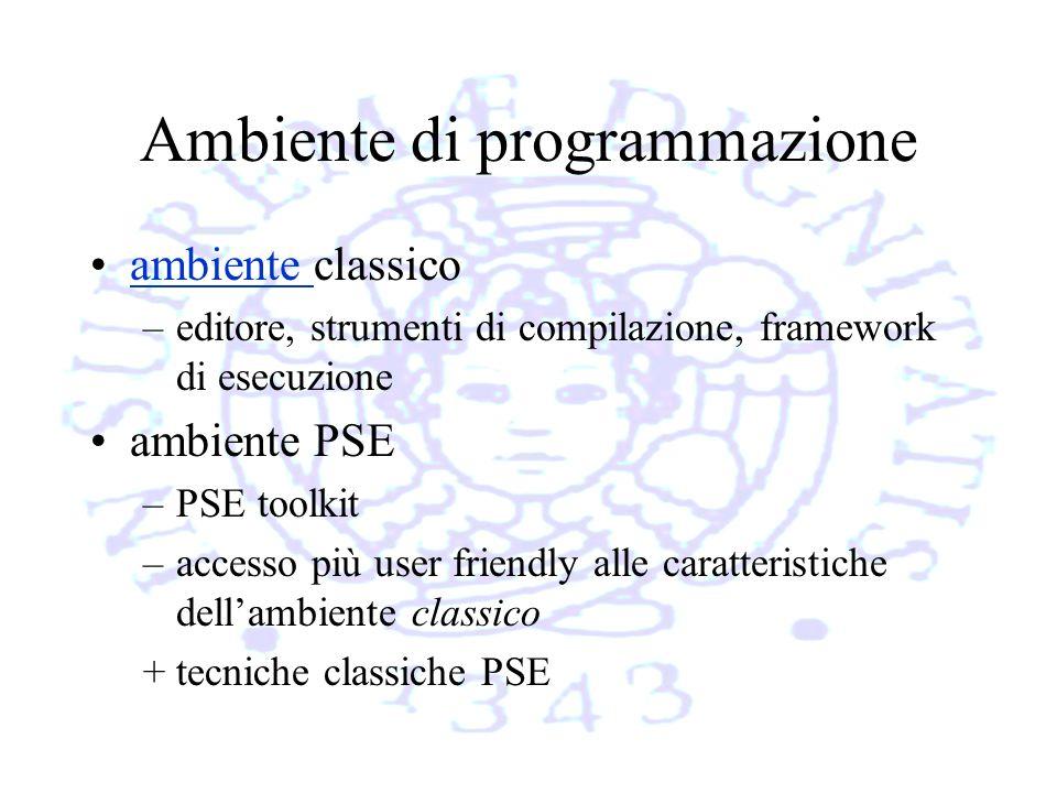 Ambiente di programmazione ambiente classicoambiente –editore, strumenti di compilazione, framework di esecuzione ambiente PSE –PSE toolkit –accesso più user friendly alle caratteristiche dellambiente classico + tecniche classiche PSE