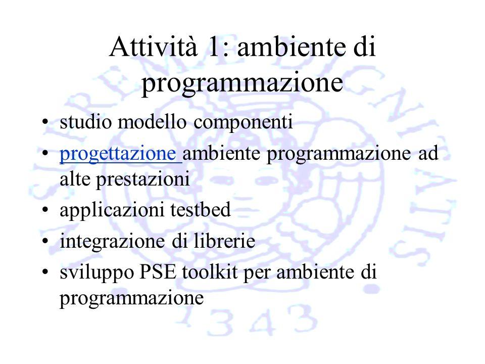 Attività 1: ambiente di programmazione studio modello componenti progettazione ambiente programmazione ad alte prestazioniprogettazione applicazioni testbed integrazione di librerie sviluppo PSE toolkit per ambiente di programmazione