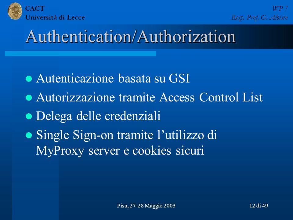 CACT Università di Lecce WP 7 Resp. Prof. G. Aloisio Pisa, 27-28 Maggio 200312 di 49 Authentication/Authorization Autenticazione basata su GSI Autoriz