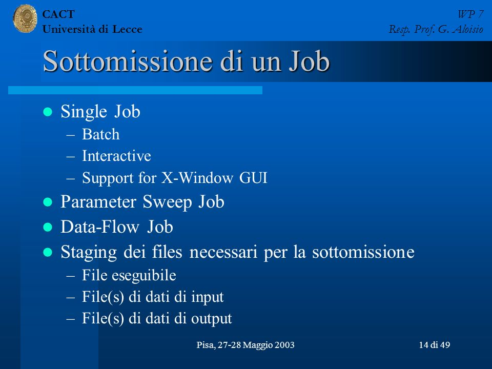 CACT Università di Lecce WP 7 Resp. Prof. G. Aloisio Pisa, 27-28 Maggio 200314 di 49 Sottomissione di un Job Single Job –Batch –Interactive –Support f