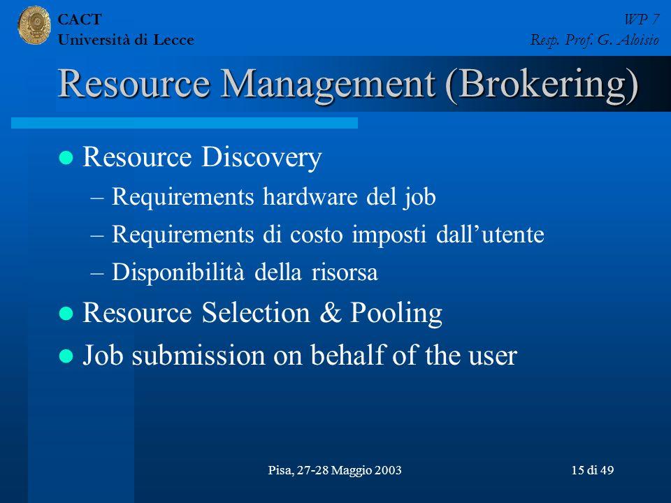 CACT Università di Lecce WP 7 Resp. Prof. G. Aloisio Pisa, 27-28 Maggio 200315 di 49 Resource Management (Brokering) Resource Discovery –Requirements