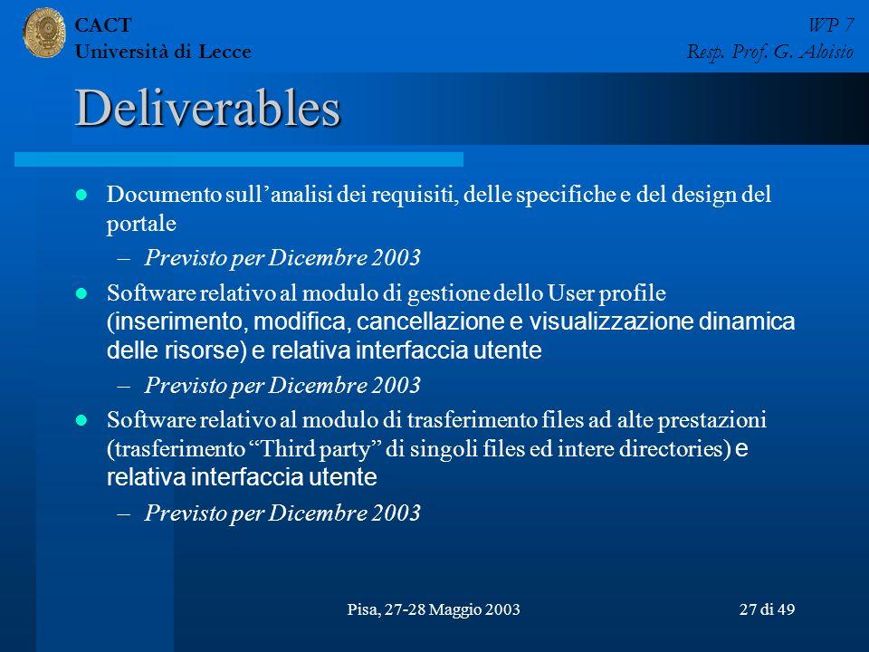 CACT Università di Lecce WP 7 Resp. Prof. G. Aloisio Pisa, 27-28 Maggio 200327 di 49 Deliverables Documento sullanalisi dei requisiti, delle specifich