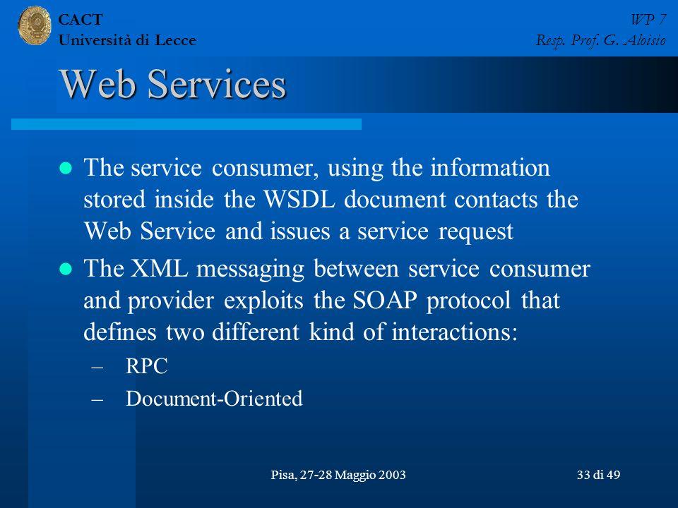 CACT Università di Lecce WP 7 Resp. Prof. G. Aloisio Pisa, 27-28 Maggio 200333 di 49 Web Services The service consumer, using the information stored i