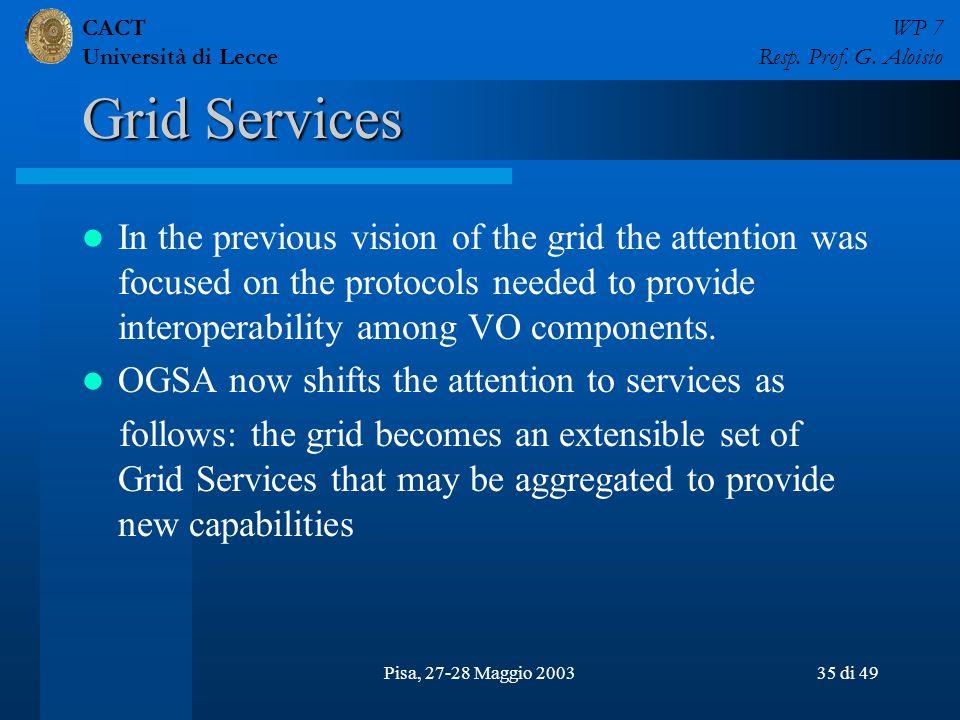 CACT Università di Lecce WP 7 Resp. Prof. G. Aloisio Pisa, 27-28 Maggio 200335 di 49 Grid Services In the previous vision of the grid the attention wa