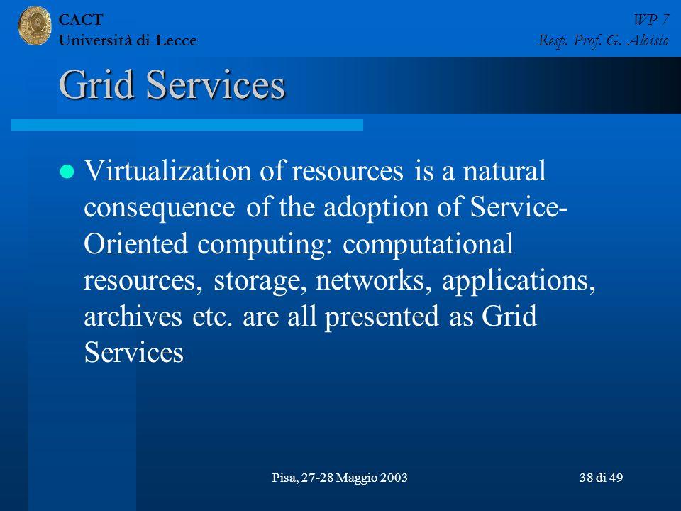 CACT Università di Lecce WP 7 Resp. Prof. G. Aloisio Pisa, 27-28 Maggio 200338 di 49 Grid Services Virtualization of resources is a natural consequenc