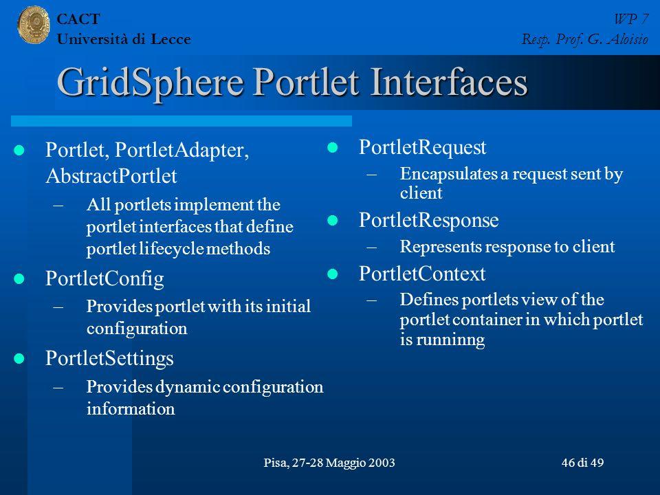 CACT Università di Lecce WP 7 Resp. Prof. G. Aloisio Pisa, 27-28 Maggio 200346 di 49 GridSphere Portlet Interfaces Portlet, PortletAdapter, AbstractPo