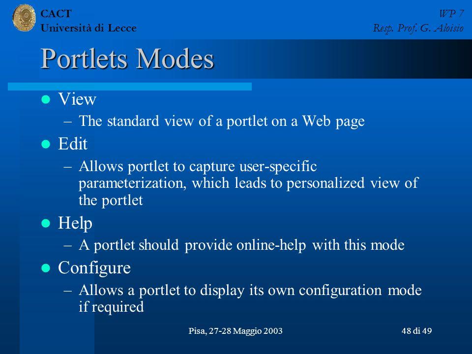 CACT Università di Lecce WP 7 Resp. Prof. G. Aloisio Pisa, 27-28 Maggio 200348 di 49 Portlets Modes View –The standard view of a portlet on a Web page