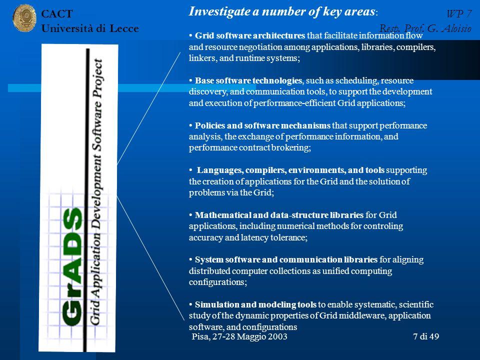 CACT Università di Lecce WP 7 Resp. Prof. G. Aloisio Pisa, 27-28 Maggio 20037 di 49 Investigate a number of key areas : Grid software architectures th