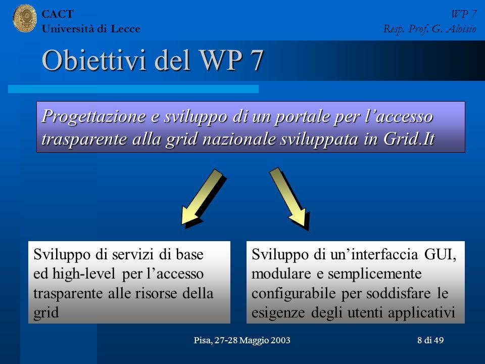 CACT Università di Lecce WP 7 Resp. Prof. G. Aloisio Pisa, 27-28 Maggio 20038 di 49 Obiettivi del WP 7 Progettazione e sviluppo di un portale per lacc