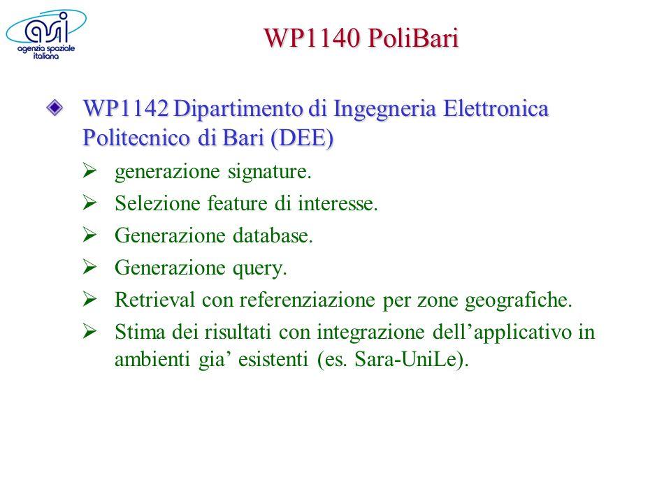 WP1140 PoliBari WP1142 Dipartimento di Ingegneria Elettronica Politecnico di Bari (DEE) generazione signature. Selezione feature di interesse. Generaz