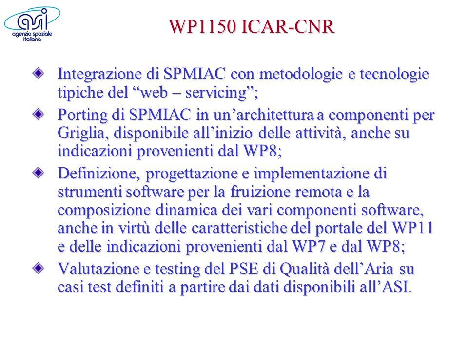 WP1150 ICAR-CNR Integrazione di SPMIAC con metodologie e tecnologie tipiche del web – servicing; Porting di SPMIAC in unarchitettura a componenti per